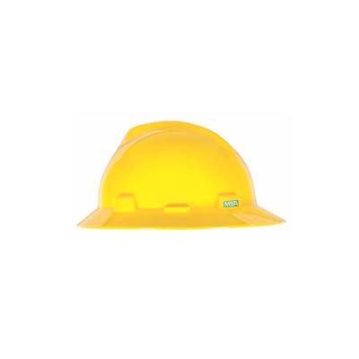 MSA USA Full Brim V-Gard, Yellow Hard Hat (Ratchet Suspension)