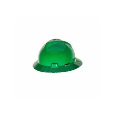 MSA USA Full Brim V-Gard, Green Hard Hat (Fas-Trac Ratchet Suspension)