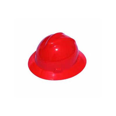 MSA USA Full Brim V-Gard, Red Hard Hat (Fas-Trac Ratchet Suspension)