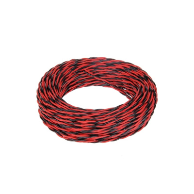 2 Core Power Cable 2x24/0.15TT  ABS Twisted-paired Wire Black and Red - 50 Metres Roll