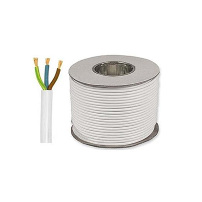 ASTRA 3 Core PVC Flexible Wire Cable 3x40/0/076 White - 40 Yards Roll