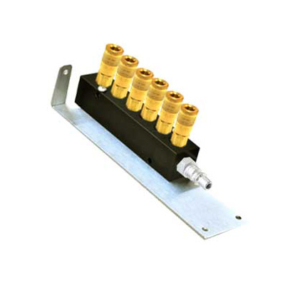 River 6 Way, Manifold With ARO Type Female Couplers On Wall Bracket