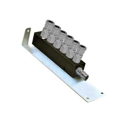 River 6 Way, Manifold With SM20 Type Female Couplers On Wall Bracket