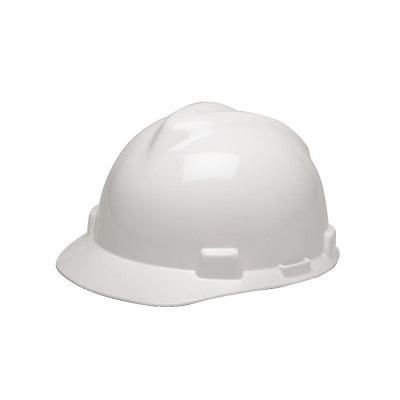 MSA (China) Standard V-Gard Safety Helmet, Slotted Cap White (Fas-Trac Ratchet Suspension)