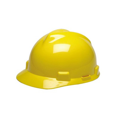 MSA (China) Standard V-Gard Safety Helmet, Slotted Cap Yellow (Fas-Trac Ratchet Suspension)