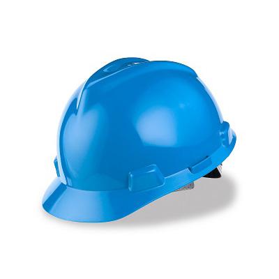 MSA (China) Standard V-Gard Safety Helmet, Slotted Cap Blue (Fas-Trac Ratchet Suspension)