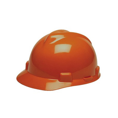 MSA (China) Standard V-Gard Safety Helmet, Slotted Cap Orange (Fas-Trac Ratchet Suspension)