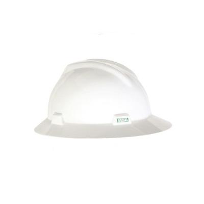 MSA USA Full Brim V-Gard, Hard Hat (Ratchet Suspension)