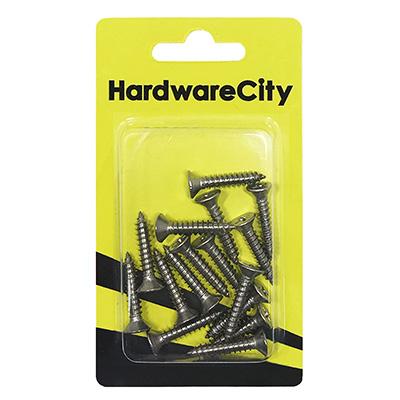 """HardwareCity 10 X 25MM (1"""") Stainless Steel CSK Self Tapping Screws, 18PC/Pack"""