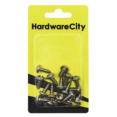 HardwareCity 10 X 1/2 Stainless Steel PH Pan Head Self Tapping Screws, 20PC/Pack