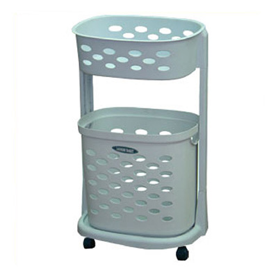 Algo Laundry Basket 2 TIER With Wheels Blue Grey
