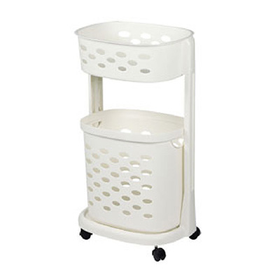 Algo Laundry Basket 2 TIER With Wheels Ivory