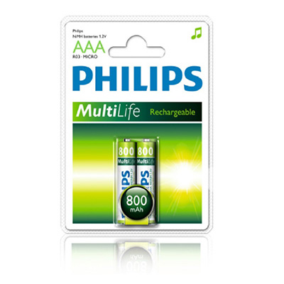 Philips 2 X AAA 800mAh Multi-life Rechargeable Battery