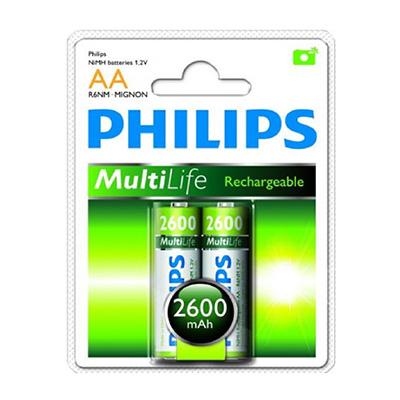 Philips 2 X AA 2600mAh Multi-life Rechargeable Battery