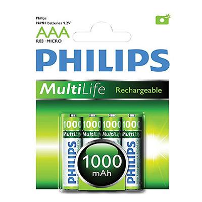 Philips 4 X AAA 1000mAh Multi-life Rechargeable Battery