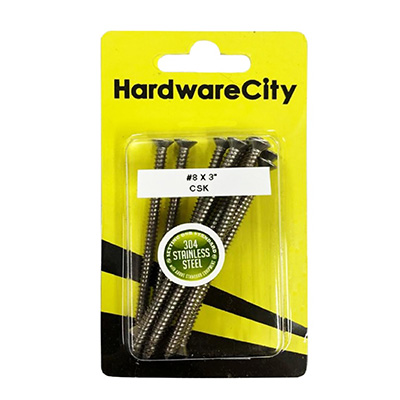 """HardwareCity 8 X 75MM (3"""") Stainless Steel CSK Self Tapping Screws, 8PC/Pack"""