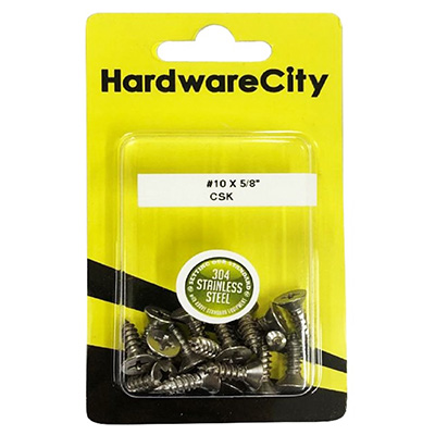 HardwareCity 10 X 5/8 Stainless Steel CSK Self Tapping Screws, 20PC/Pack
