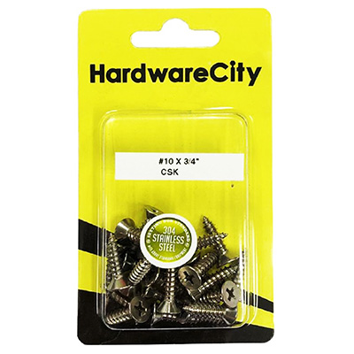 HardwareCity 10 X 3/4 Stainless Steel CSK Self Tapping Screws, 20PC/Pack