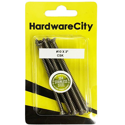 """HardwareCity 10 X 75MM (3"""") Stainless Steel CSK Self Tapping Screws, 8PC/Pack"""