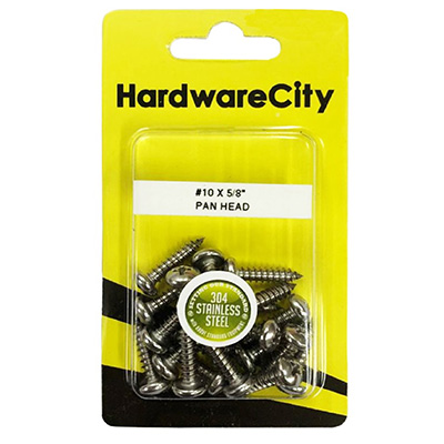 HardwareCity 10 X 5/8 Stainless Steel PH Pan Head Self Tapping Screws, 20PC/Pack