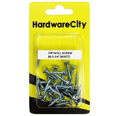 HardwareCity 6 X 3/4 Zinc Dry Wall Screws, 20PC/Pack