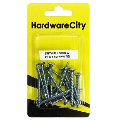 HardwareCity 6 X 40MM (1-1/2) Zinc Dry Wall Screws, 20PC/Pack