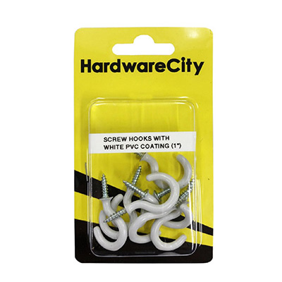 """HardwareCity 25MM (1"""") Screw Cup Hooks With PVC Coating, 10PC/Pack"""