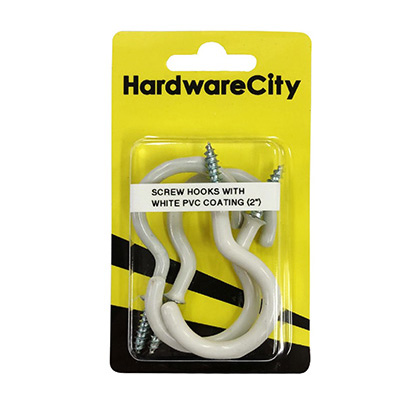 """HardwareCity 50MM (2"""") Screw Cup Hooks With PVC Coating, 4PC/Pack"""