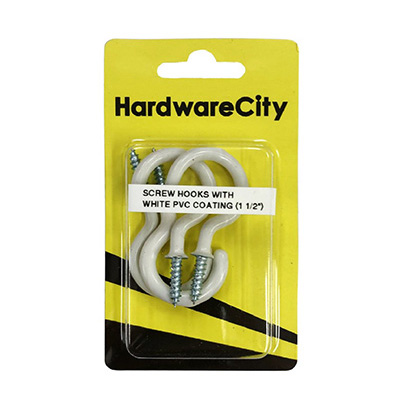 HardwareCity 40MM (1-1/2) Screw Cup Hooks With PVC Coating, 4PC/Pack