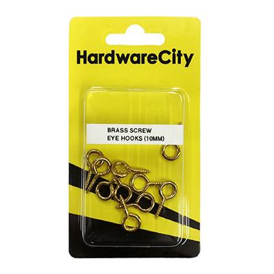 HardwareCity 10MM Brass Screw Eye Hooks, 10PC/Pack