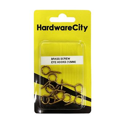 HardwareCity 12MM Brass Screw Eye Hooks, 10PC/Pack