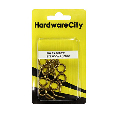 HardwareCity 13MM Brass Screw Eye Hooks, 10PC/Pack