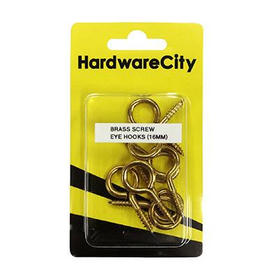 HardwareCity 16MM Brass Screw Eye Hooks, 8PC/Pack