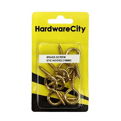 HardwareCity 19MM Brass Screw Eye Hooks, 8PC/Pack