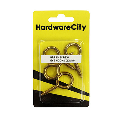 HardwareCity 22MM Brass Screw Eye Hooks, 4PC/Pack