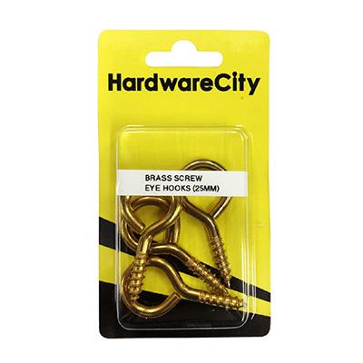 HardwareCity 25MM Brass Screw Eye Hooks, 4PC/Pack