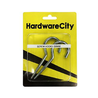 HardwareCity 30MM Galvanized Cup Long Screw Hook, 2PC/Pack