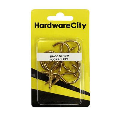 HardwareCity 1-1/4 Brass Screw Cup Hooks, 8PC/Pack