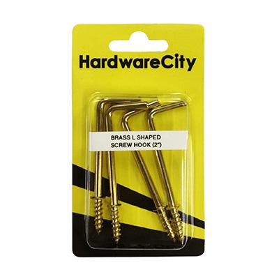 "HardwareCity 50MM (2"") Brass L-Shaped Hooks, 4PC/Pack"