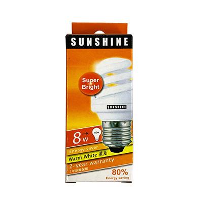 Sunshine Energy Saving Lamp Full Spiral 8W Warm White