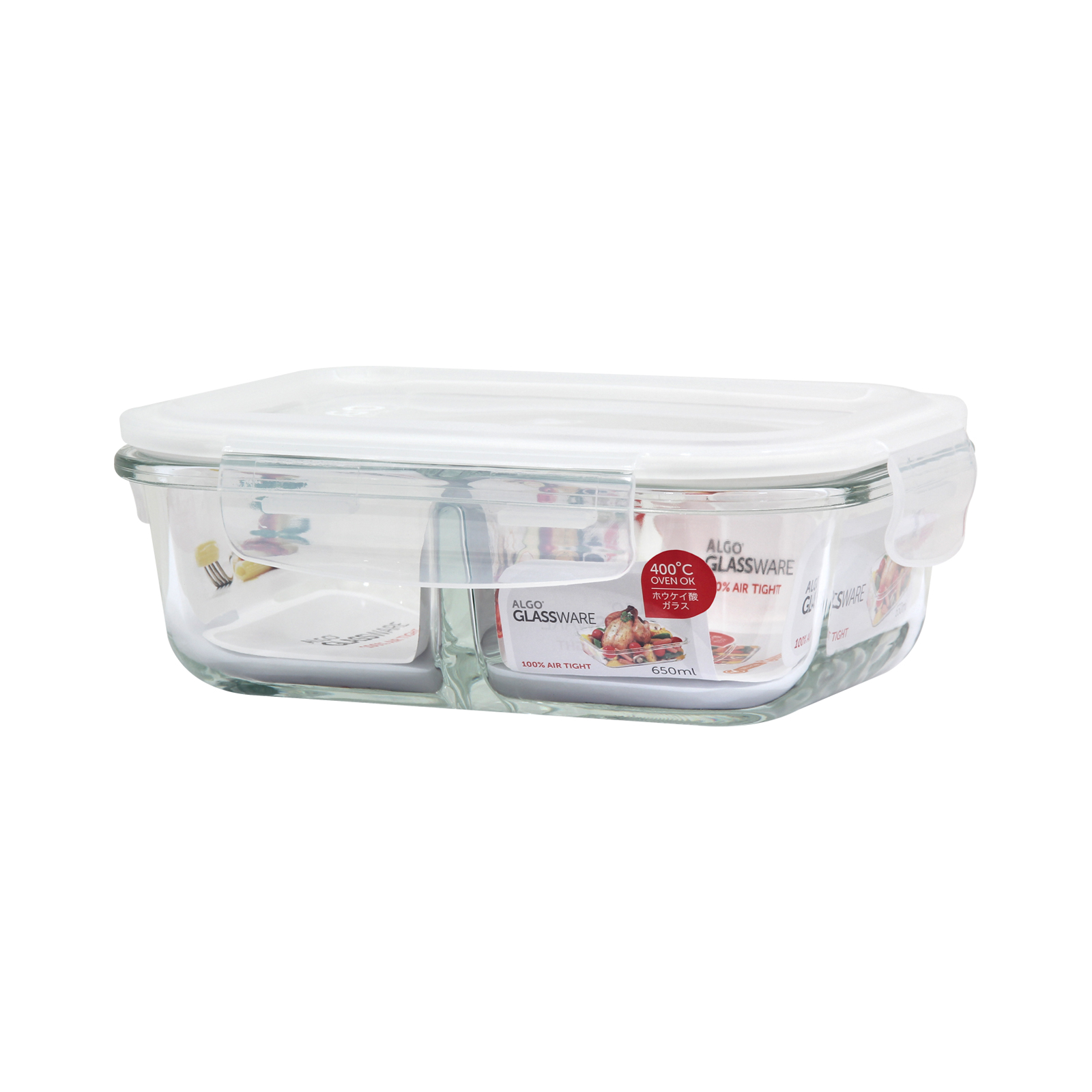 Algo AL-G6182D Glass Container With Divider 650ML